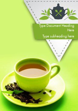 Green Tea Cup Word Template, Cover Page, 11431, Food & Beverage — PoweredTemplate.com