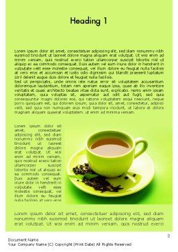 Green Tea Cup Word Template, First Inner Page, 11431, Food & Beverage — PoweredTemplate.com