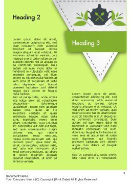 Green Tea Cup Word Template, Second Inner Page, 11431, Food & Beverage — PoweredTemplate.com