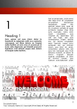 Welcome in Different Languages Word Template, First Inner Page, 11440, Education & Training — PoweredTemplate.com
