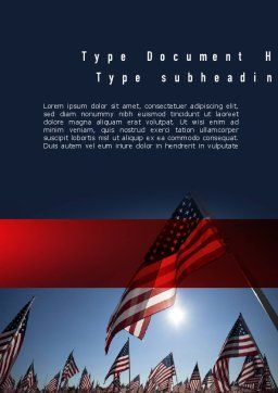 Large Group of American Flags Word Template, Cover Page, 11444, America — PoweredTemplate.com