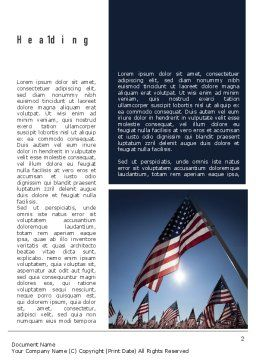 Large Group of American Flags Word Template First Inner Page
