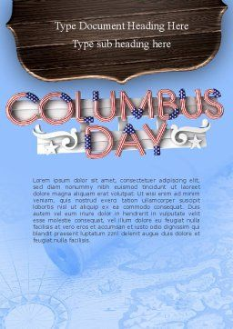 Columbus Day Theme Word Template, Cover Page, 11452, Holiday/Special Occasion — PoweredTemplate.com