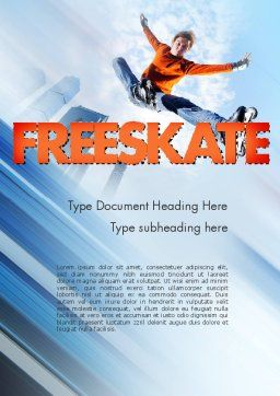Roller Skate Freestyle Word Template, Cover Page, 11469, Sports — PoweredTemplate.com