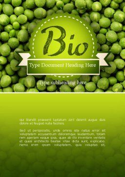 Green Peas Word Template, Cover Page, 11475, Food & Beverage — PoweredTemplate.com
