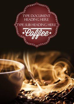 Cup of Coffee with Hot Steam Word Template, Cover Page, 11484, Food & Beverage — PoweredTemplate.com