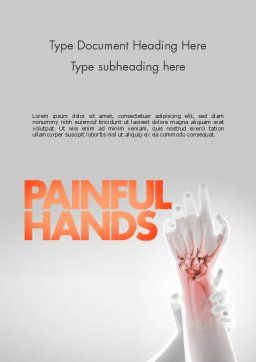Painful Hands Word Template, Cover Page, 11490, Medical — PoweredTemplate.com