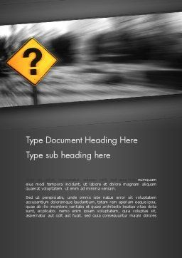 Question Mark Road Sign Word Template Cover Page