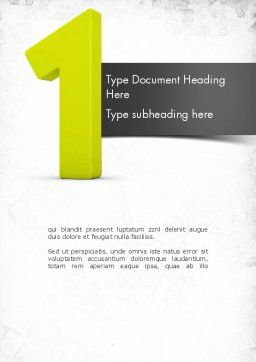 Number One Green Word Template, Cover Page, 11505, Education & Training — PoweredTemplate.com