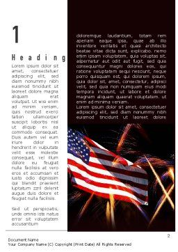 American Flag with Fireworks Word Template, First Inner Page, 11512, Holiday/Special Occasion — PoweredTemplate.com