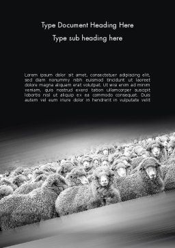 Flock of Sheep Word Template, Cover Page, 11520, Agriculture and Animals — PoweredTemplate.com