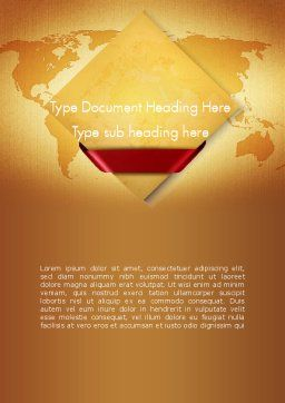 World Map in Sand Colors Word Template Cover Page