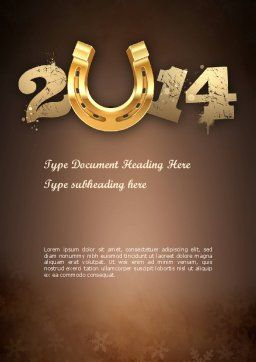 2014 with Golden Horseshoe Word Template, Cover Page, 11527, Holiday/Special Occasion — PoweredTemplate.com