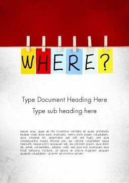 Where Question Word Template, Cover Page, 11530, Education & Training — PoweredTemplate.com