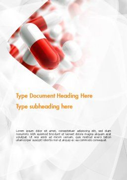 Red and White Pills Word Template, Cover Page, 11539, Medical — PoweredTemplate.com