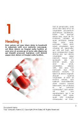 Red and White Pills Word Template, First Inner Page, 11539, Medical — PoweredTemplate.com