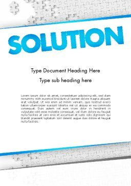 Puzzle Solution Word Template, Cover Page, 11548, Business Concepts — PoweredTemplate.com