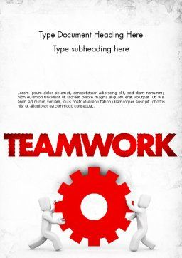 People With Gear Word Template, Cover Page, 11572, Business Concepts — PoweredTemplate.com