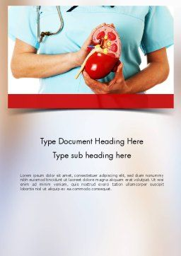 Kidney Health Word Template, Cover Page, 11595, Medical — PoweredTemplate.com
