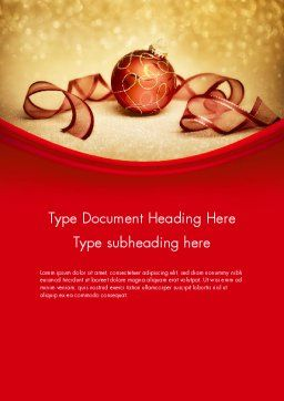 Red-gold Christmas Theme Word Template, Cover Page, 11596, Holiday/Special Occasion — PoweredTemplate.com