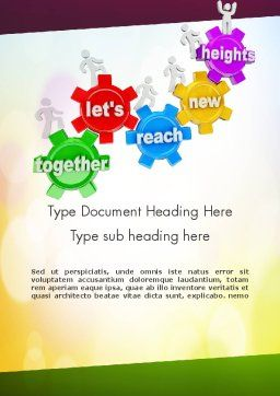 Working Together Team Word Template, Cover Page, 11602, Education & Training — PoweredTemplate.com