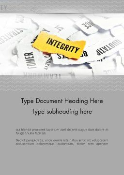 Integrity Concept Word Template, Cover Page, 11612, Business Concepts — PoweredTemplate.com
