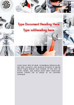 Plumbing Services Word Template, Cover Page, 11618, Careers/Industry — PoweredTemplate.com