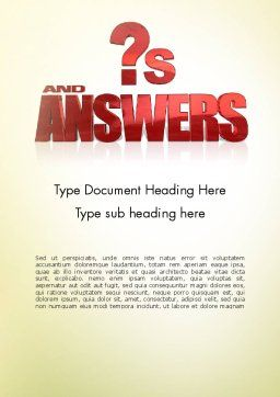 Red Questions and Answers Word Template Cover Page