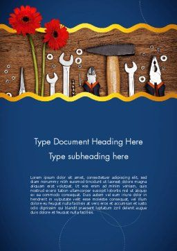 Flowers and Repair Tools Word Template, Cover Page, 11627, Careers/Industry — PoweredTemplate.com