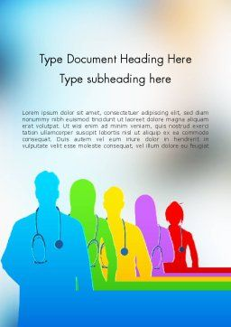 Medical Team Silhouettes Word Template, Cover Page, 11635, Medical — PoweredTemplate.com