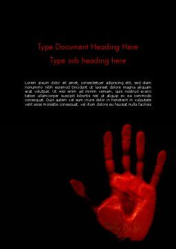 Blood Hand Word Template, Cover Page, 11640, Legal — PoweredTemplate.com