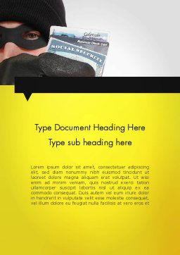 Identity Theft Word Template, Cover Page, 11647, Legal — PoweredTemplate.com