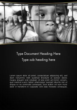 Kid Behind a Fence Word Template, Cover Page, 11657, Legal — PoweredTemplate.com