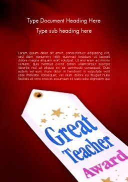 Great Teacher Award Word Template, Cover Page, 11662, Holiday/Special Occasion — PoweredTemplate.com