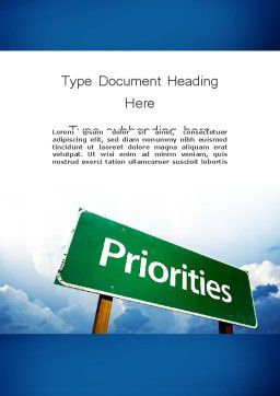 Business Priorities Word Template, Cover Page, 11671, Business Concepts — PoweredTemplate.com