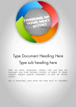 Thinking of Your Next Move Word Template, Cover Page, 11679, Business Concepts — PoweredTemplate.com