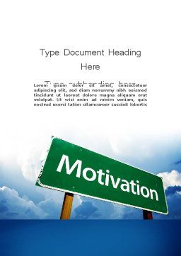 Motivation Sign Word Template Cover Page