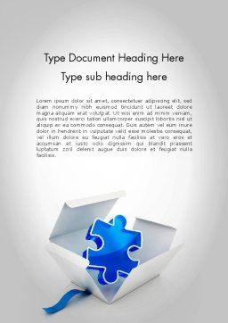 Puzzle Piece in a Box Word Template, Cover Page, 11694, Consulting — PoweredTemplate.com