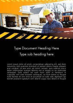 Smiling Builder Word Template, Cover Page, 11701, Careers/Industry — PoweredTemplate.com
