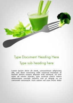 Green Nutrition Drink Word Template Cover Page