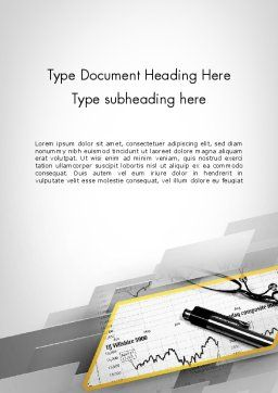 Glasses and Pen Resting on a Report Word Template, Cover Page, 11710, Business — PoweredTemplate.com