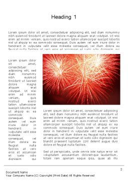 Bright Fireworks Word Template, First Inner Page, 11715, Holiday/Special Occasion — PoweredTemplate.com