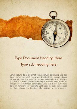 Compass on Parchment Word Template, Cover Page, 11732, Business — PoweredTemplate.com
