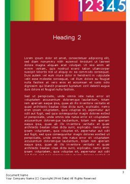 Colorful Numbers Word Template, Second Inner Page, 11748, Education & Training — PoweredTemplate.com