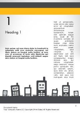 Mobiles Silhouettes Word Template, First Inner Page, 11752, Telecommunication — PoweredTemplate.com