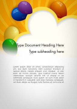 Colored Balloons Word Template, Cover Page, 11759, Holiday/Special Occasion — PoweredTemplate.com