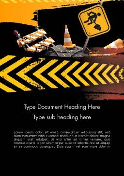 Concept of Road Works Word Template, Cover Page, 11766, Construction — PoweredTemplate.com