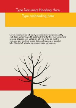 Deciduous Tree In Winter Word Template, Cover Page, 11786, Nature & Environment — PoweredTemplate.com