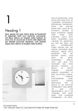 Clock On Wall With Cubes Word Template, First Inner Page, 11804, Business — PoweredTemplate.com
