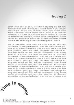 Time is Money Clock Word Template Second Inner Page